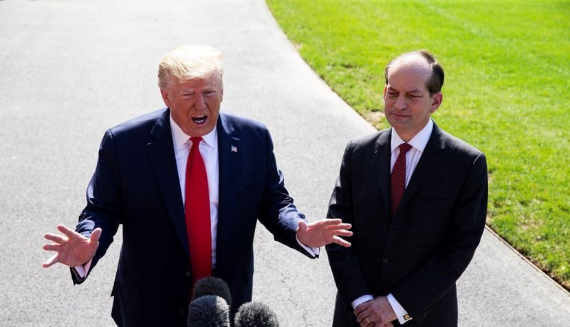 US President Donald J. Trump (L) delivers remarks to members of the news media beside US Labor Secretary Alex Acosta (R), before departing the South Lawn of the White House in Washington, DC, USA, 12 July 2019. EFE/EPA/MICHAEL REYNOLDS